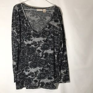 DKNY Jeans Black and Gray Top Size 22/24W